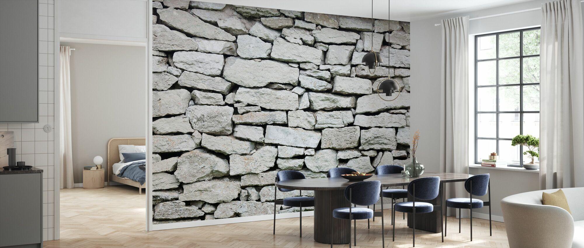 Graue Steinmauer - Tapete - Küchen