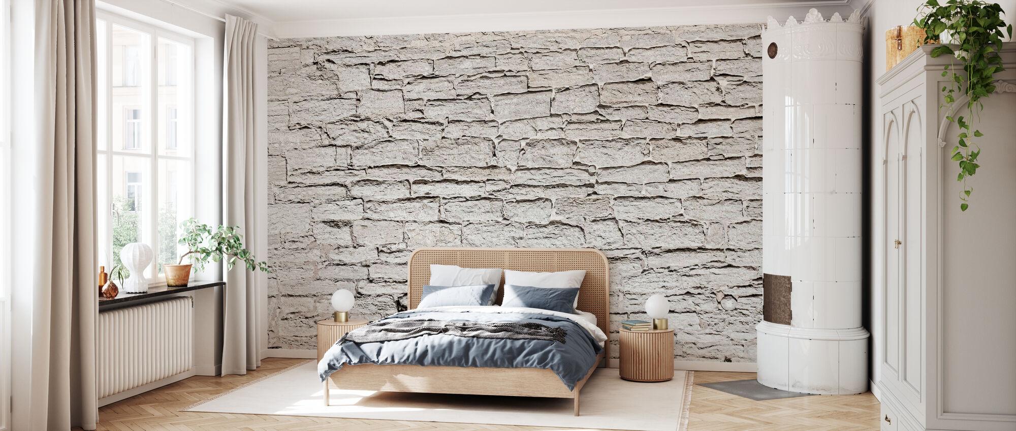 Mur de pierre gris clair - Papier peint - Chambre