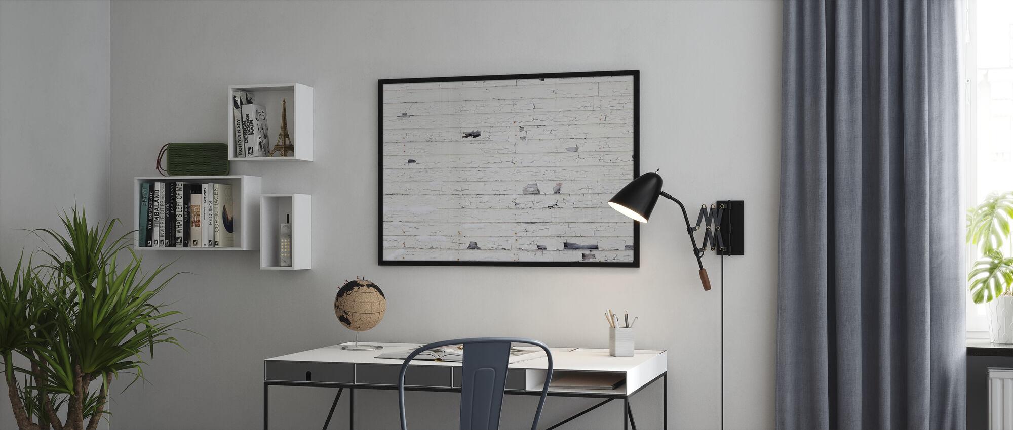 Witte Houtenmuur met Sneeuw - Ingelijste print - Kantoor