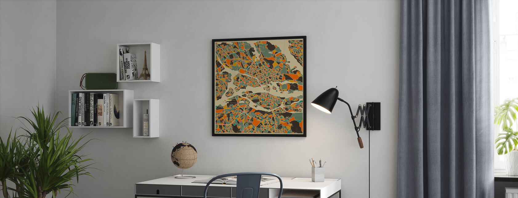 Multicolor Map - Stockholm - Framed print - Office