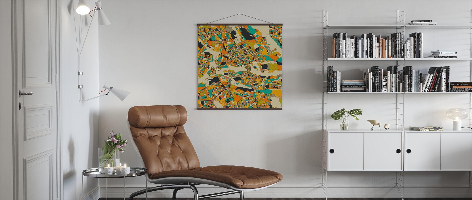 Orange Map - Stockholm - Poster - Living Room