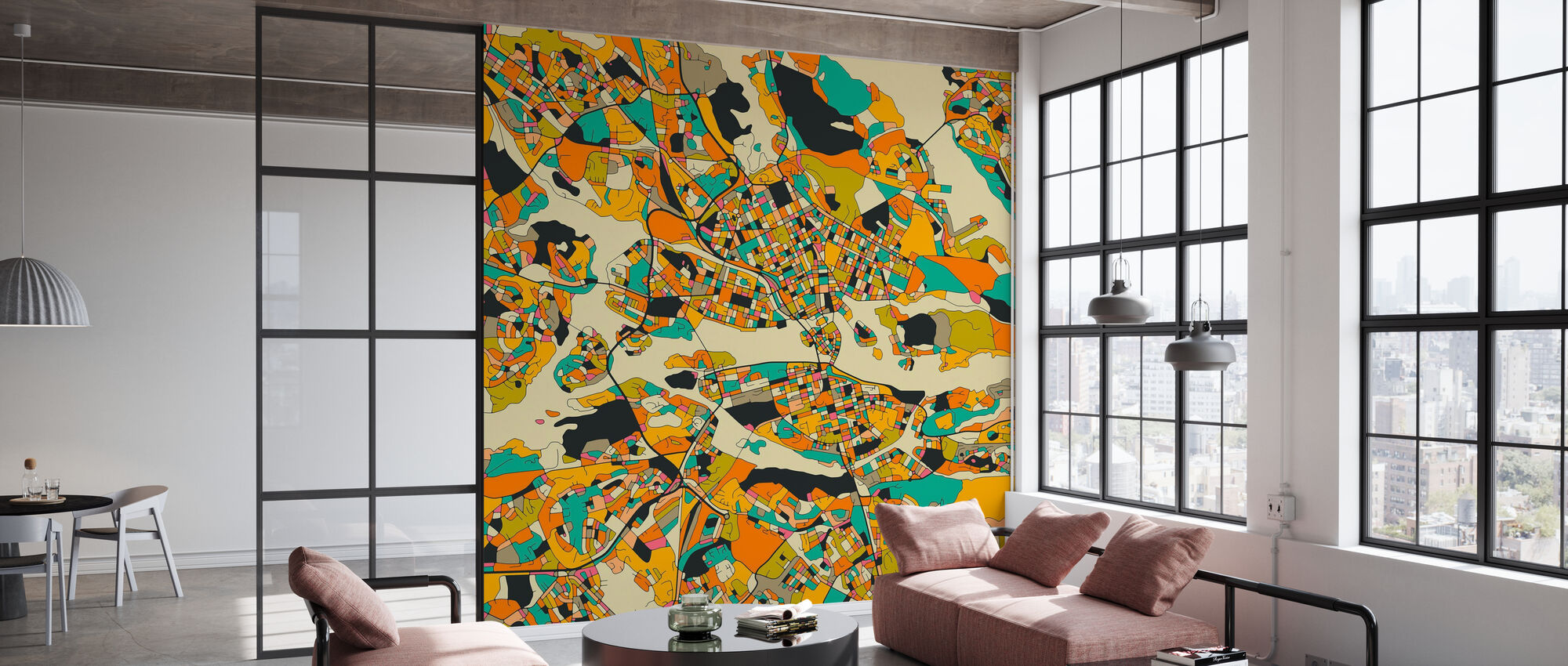 Orange Map - Stockholm - Wallpaper - Office