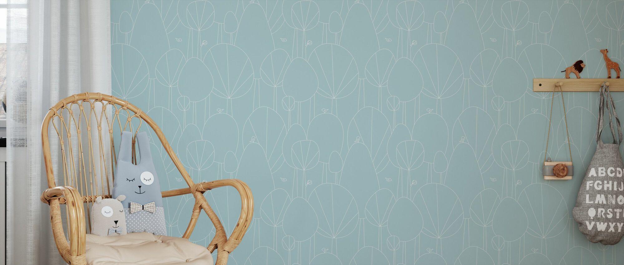 Happy Forest - Aqua - Wallpaper - Kids Room