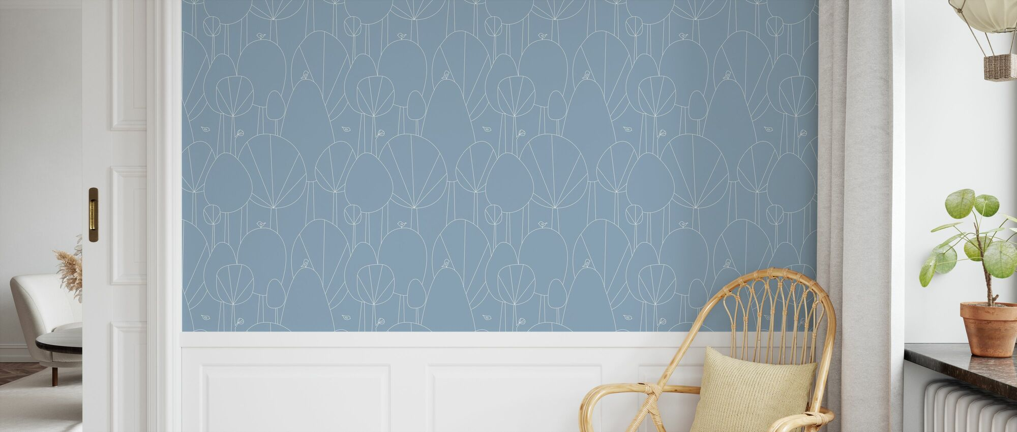 Happy Forest - Denim - Wallpaper - Kids Room