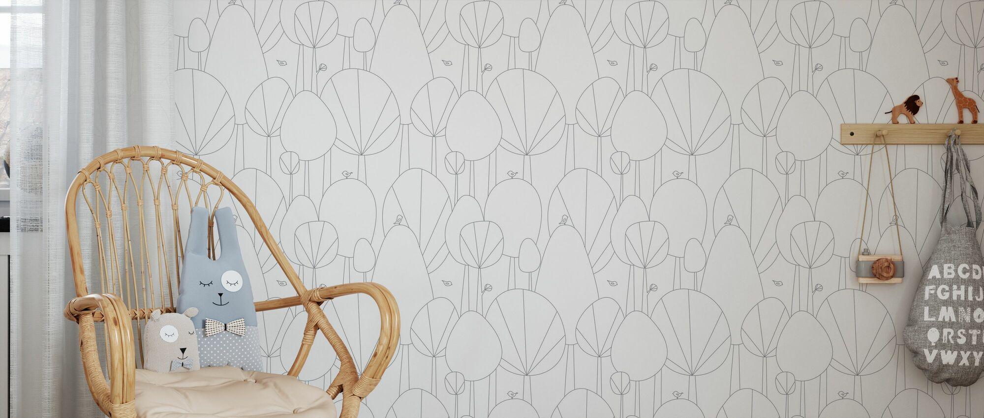 Happy Forest - Grey - Wallpaper - Kids Room