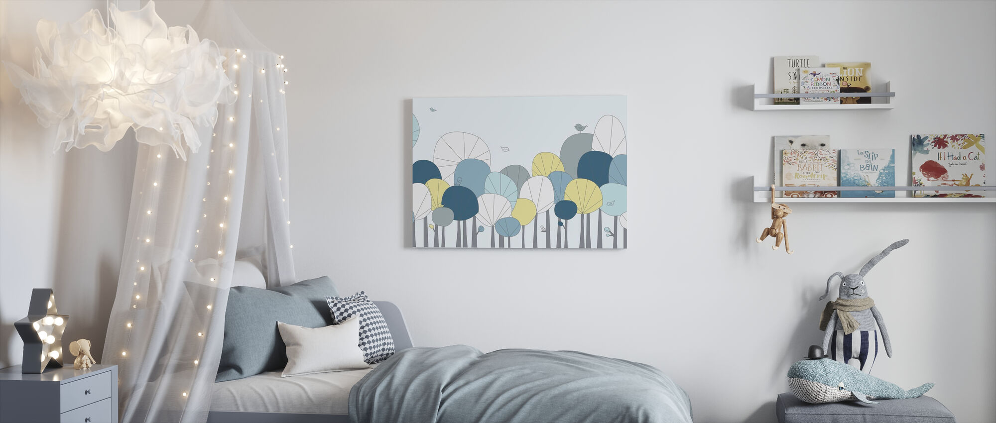 Happy Forest - Pastel Blue - Canvas print - Kids Room