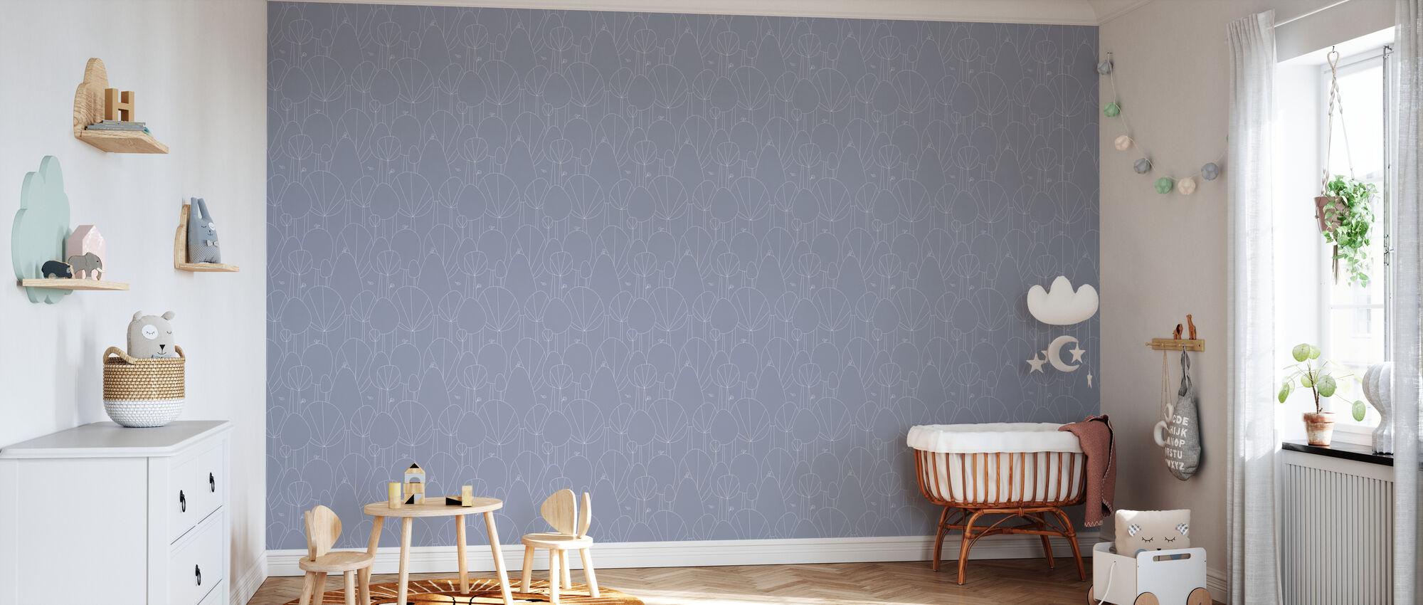 Happy Forest - Purple - Wallpaper - Nursery