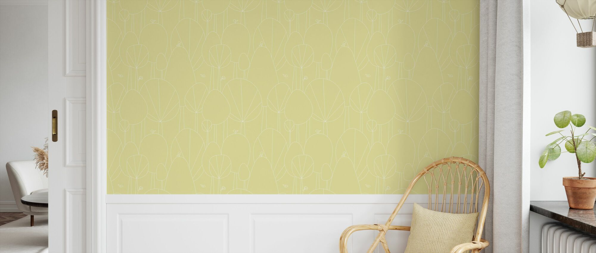 Happy Forest - Yellow - Wallpaper - Kids Room