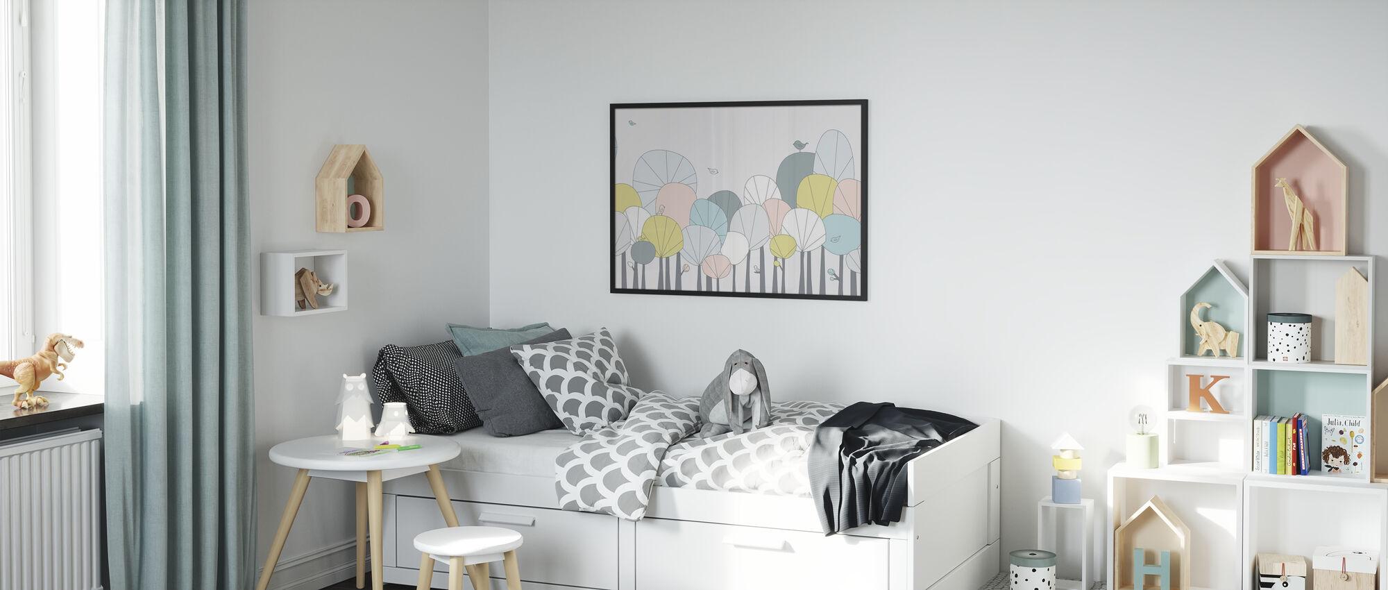 Gelukkig Bos - Pastel - Ingelijste print - Kinderkamer