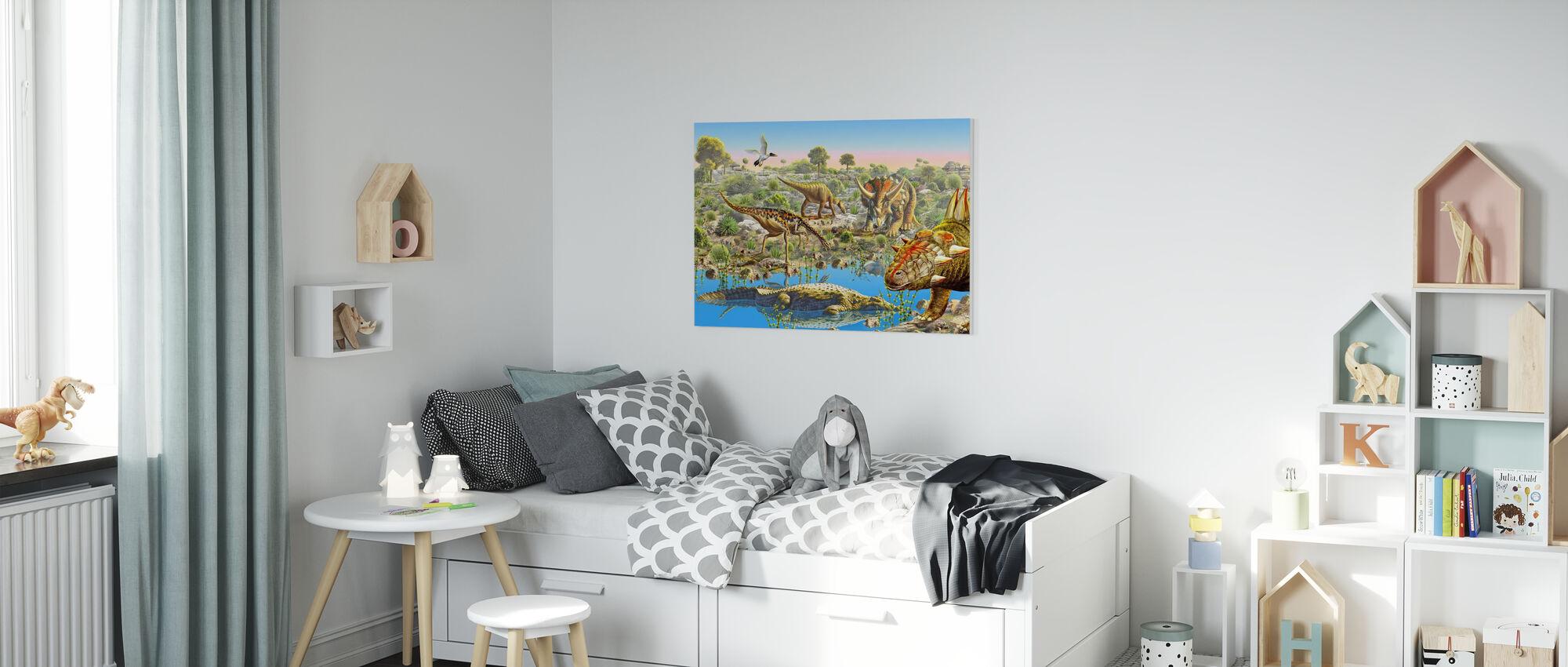 Vallée des dinosaures - Impression sur toile - Chambre des enfants