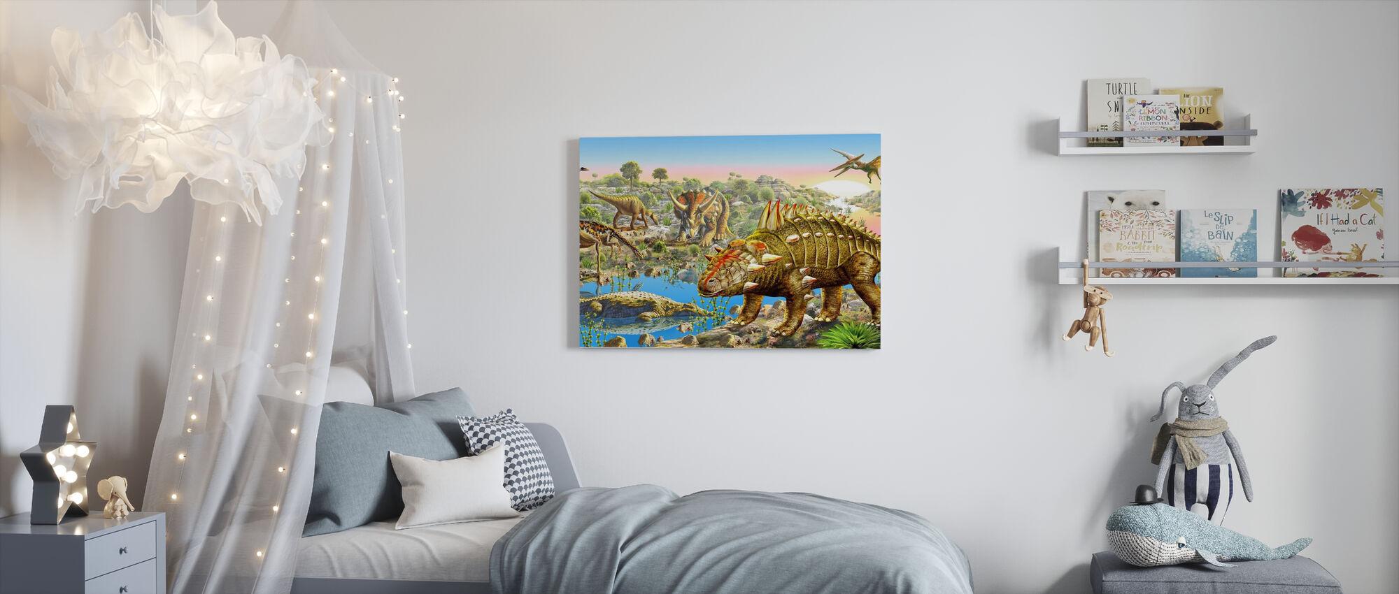 Panorama av dinosauriedalen - Canvastavla - Barnrum