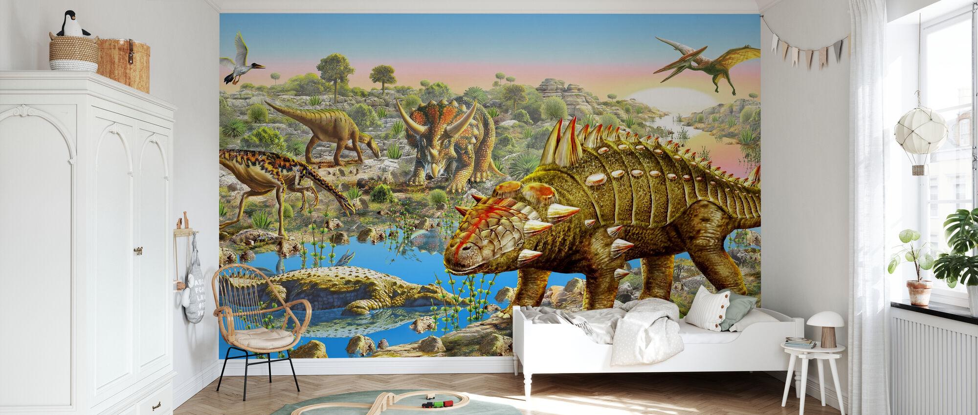 Panorama de la vallée des dinosaures - Papier peint - Chambre des enfants