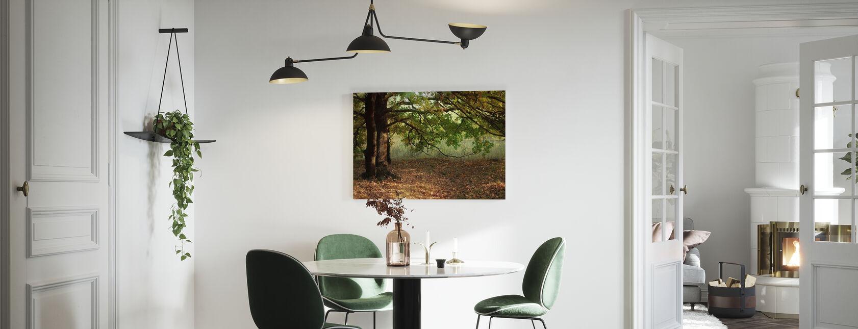 Ilta auringon säteitä syksyn lehdet tammen puu - Canvastaulu - Keittiö