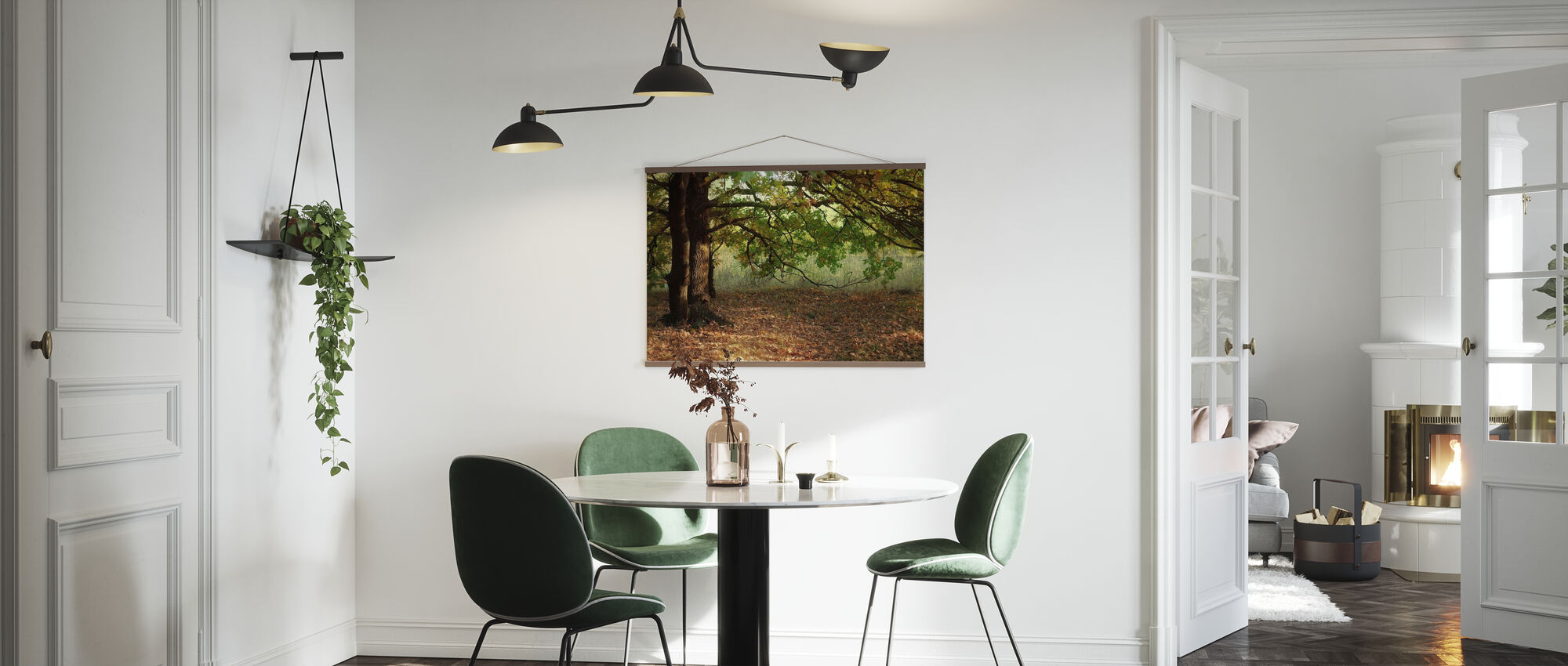Evening Sun Beams on Autumn Leaves of Oak Tree - Poster - Kitchen
