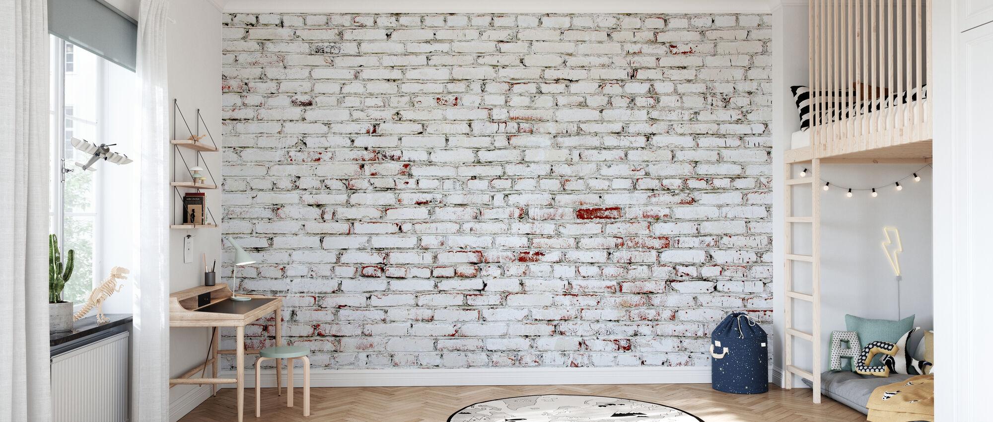 Stary mur z cegły białej i czerwonej cegły - Tapeta - Pokój dziecięcy