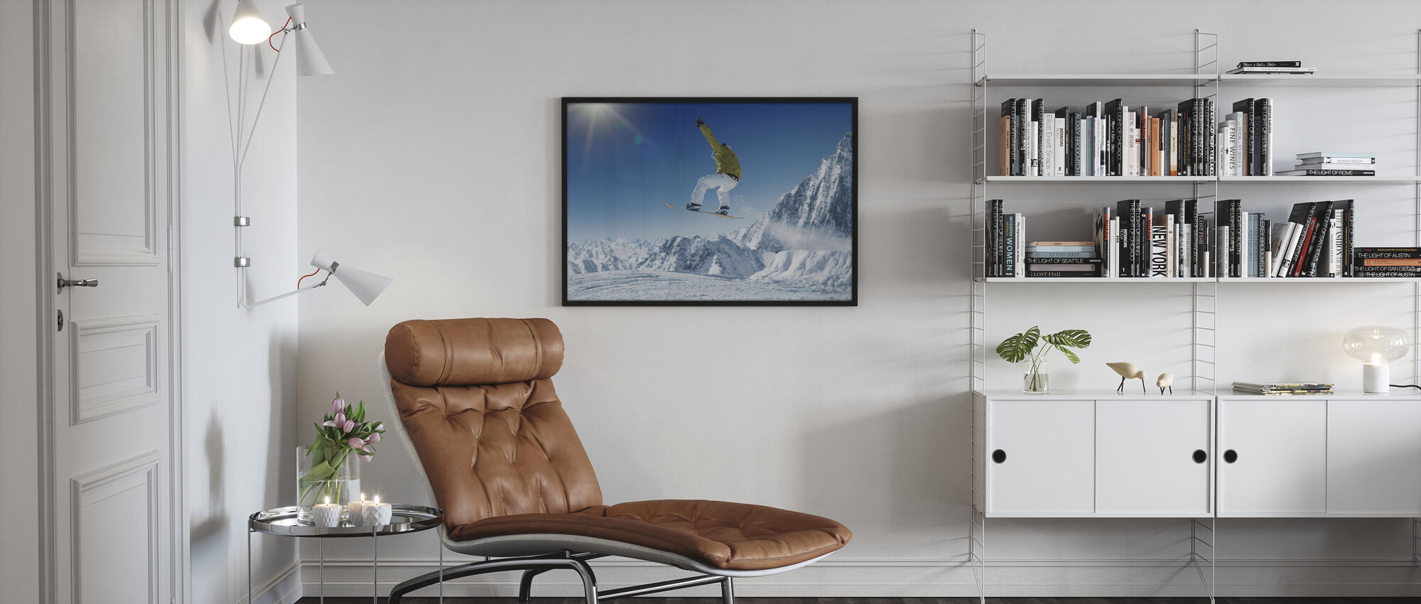 Skier in the high Mountains - Poster - Living Room
