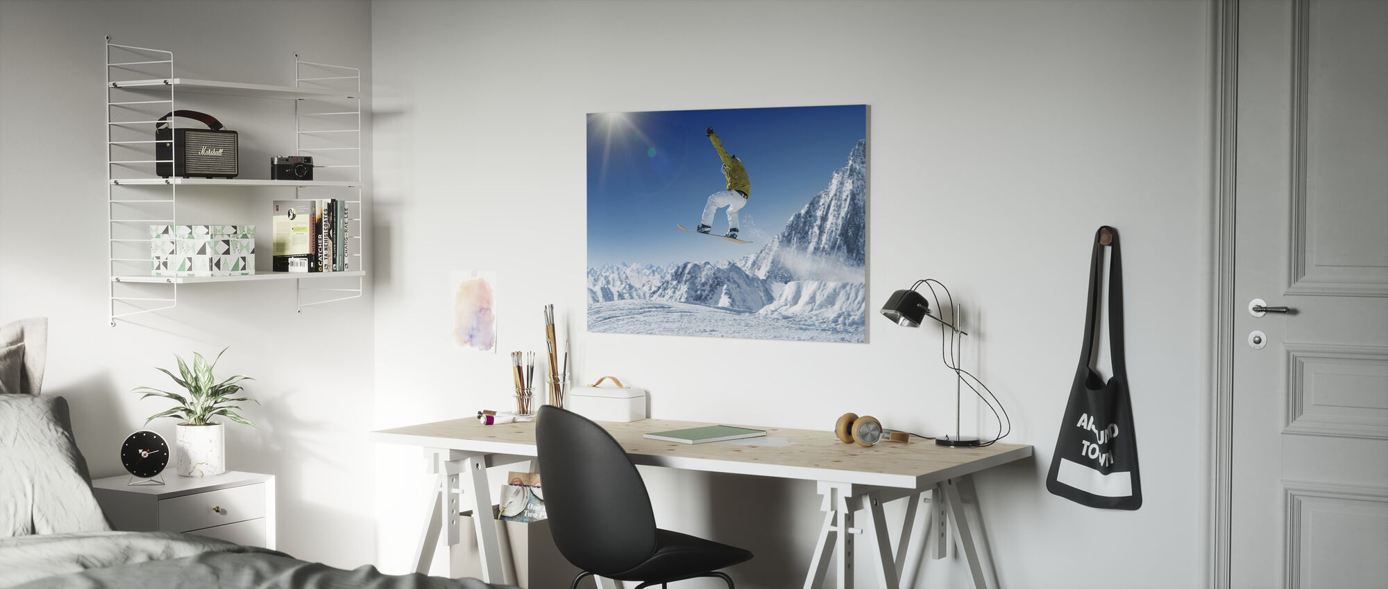 Skier in the high Mountains - Canvas print - Kids Room