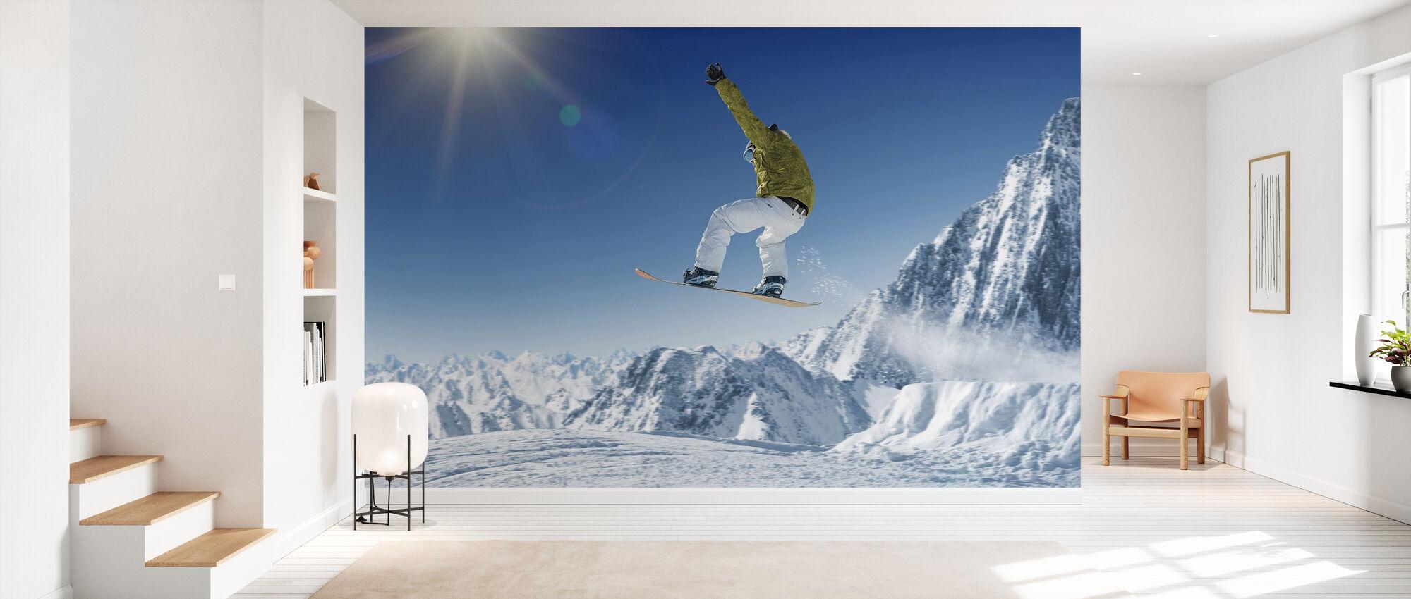 Skidåkare i de höga bergen - Tapet - Hall