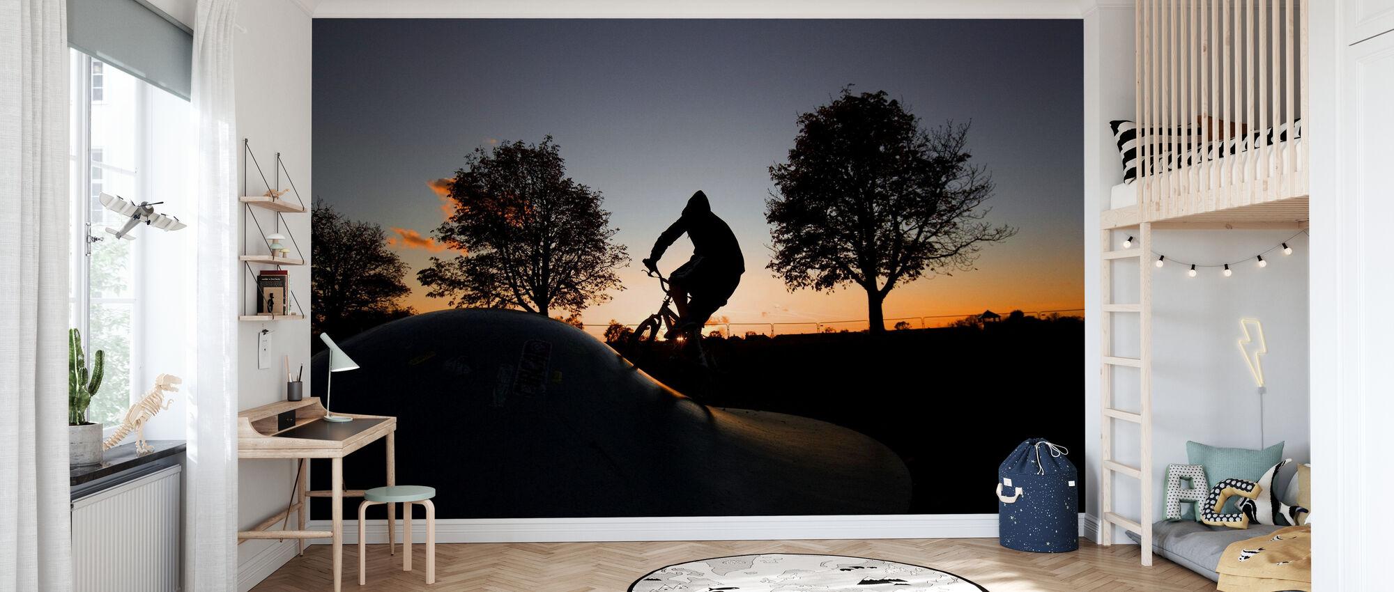 BMX Biking at Sunset - Wallpaper - Kids Room