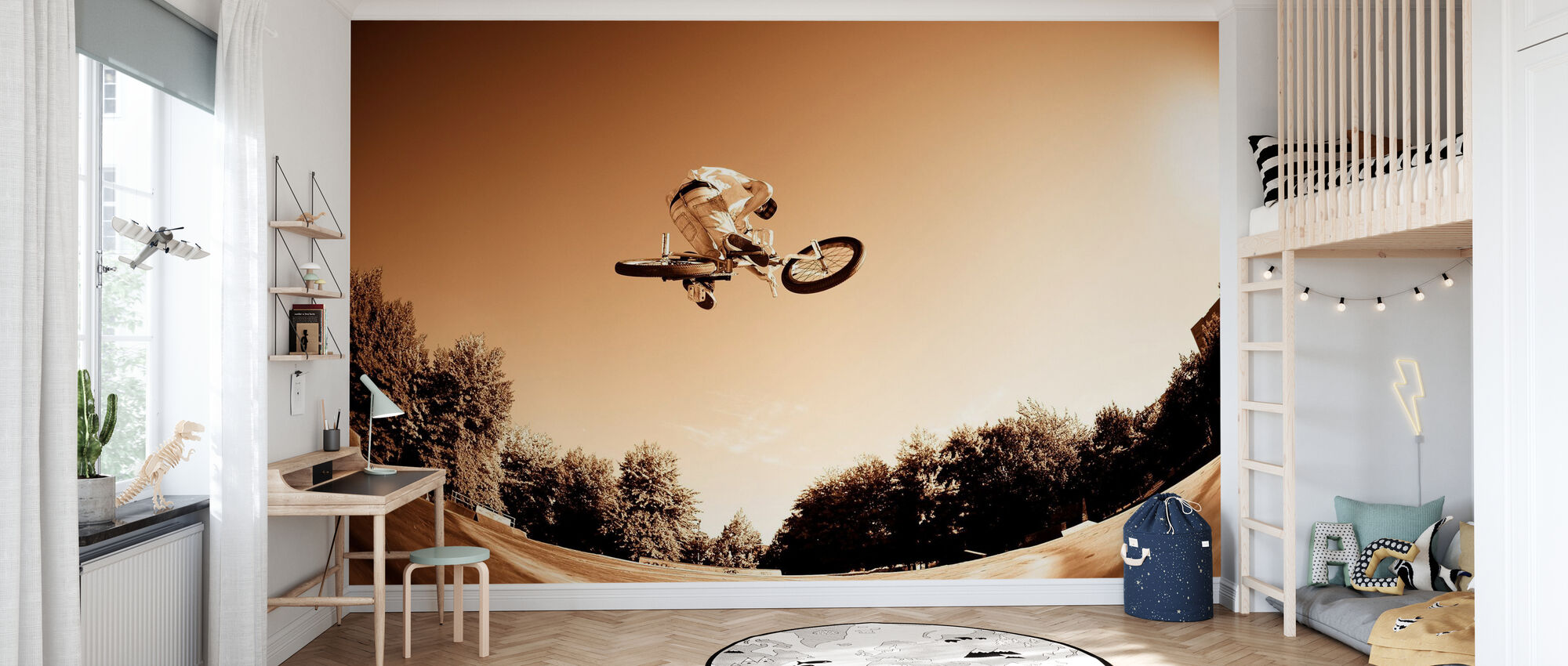 Hoge BMX-sprong - Behang - Kinderkamer