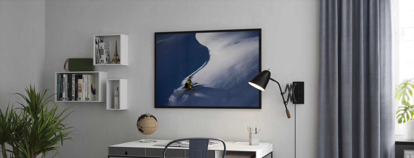 Poeder Sneeuw Skiën - Ingelijste print - Kantoor
