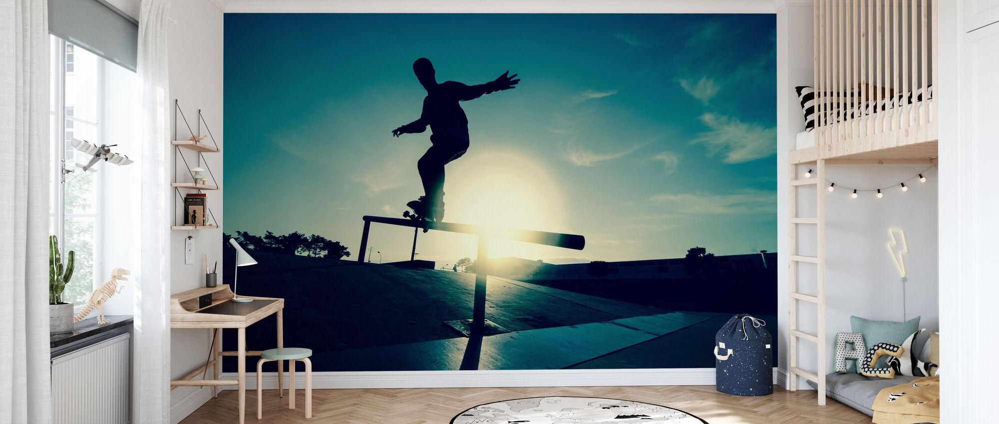 Skateboarder on a Grind - Wallpaper - Kids Room