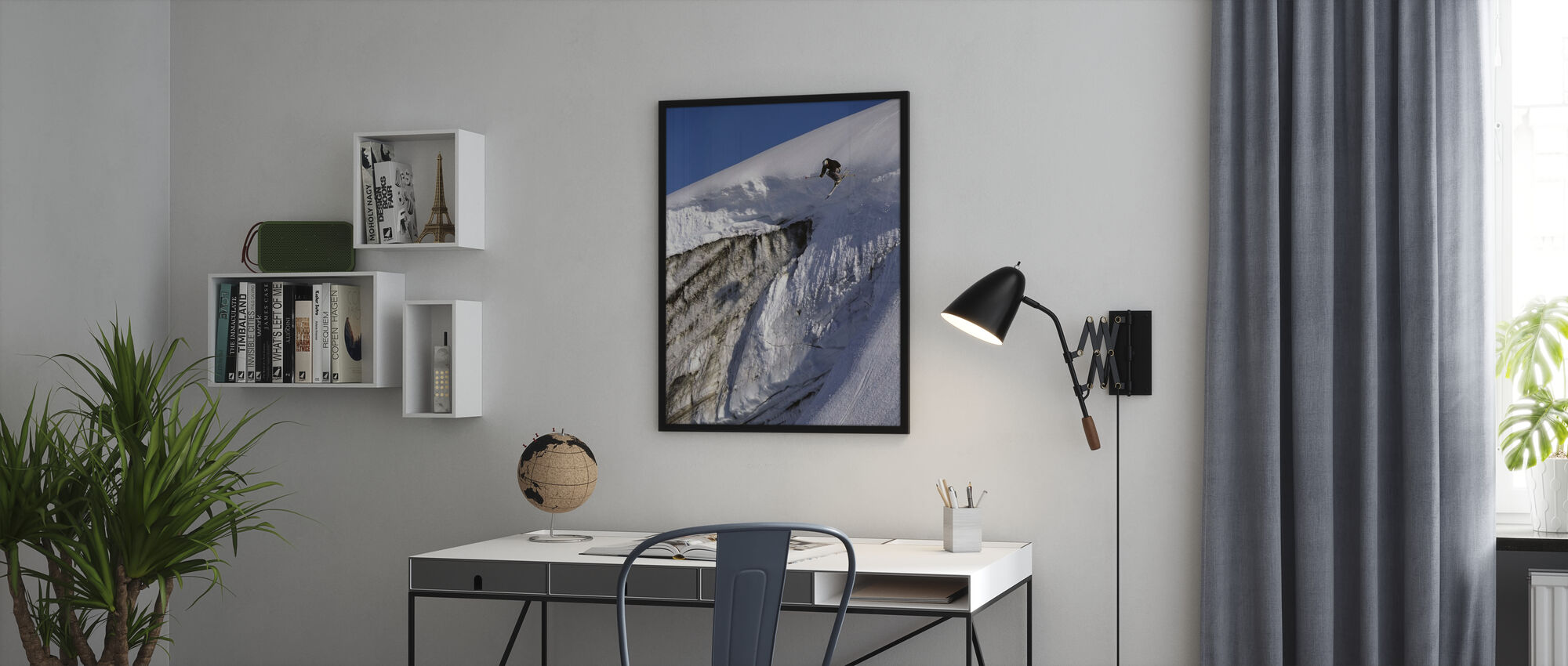 Skiing on the Apussuit Glacier - Framed print - Office