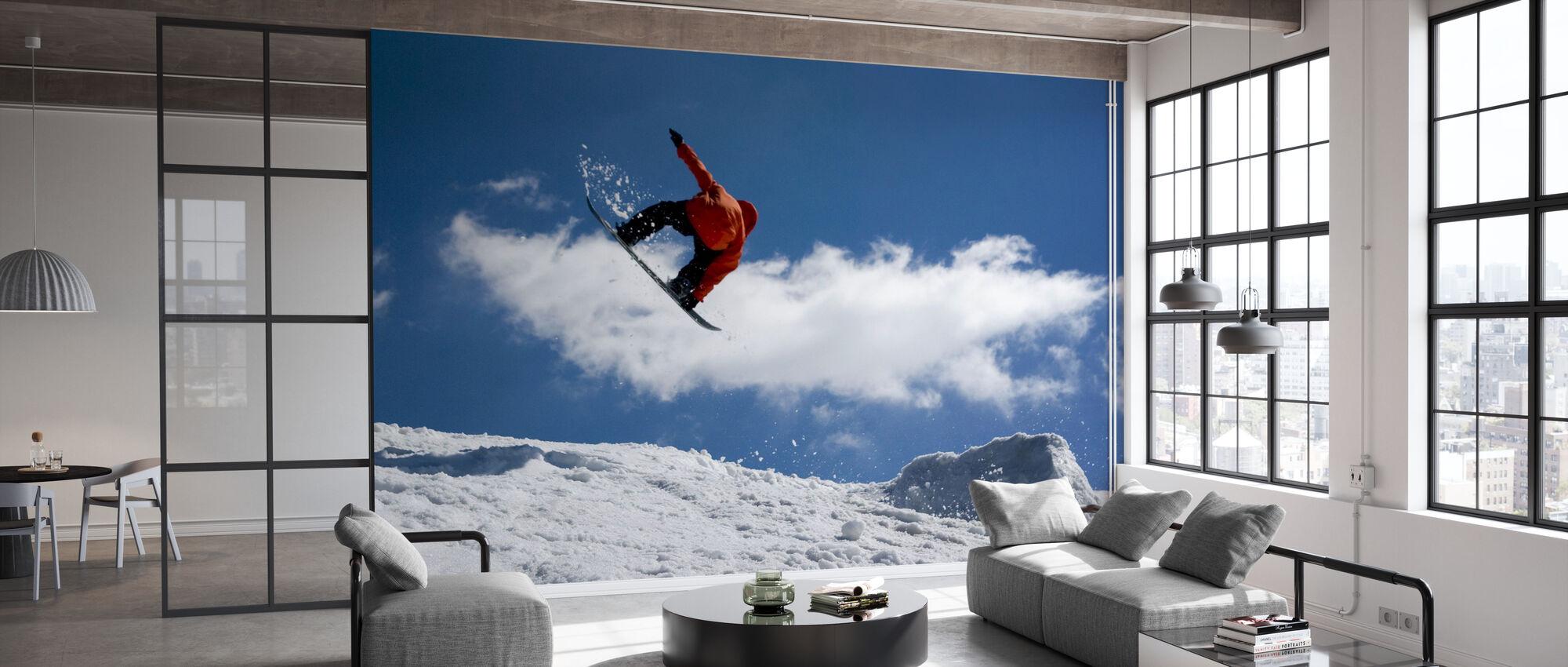 Snowboard Jump from Ramp - Wallpaper - Office