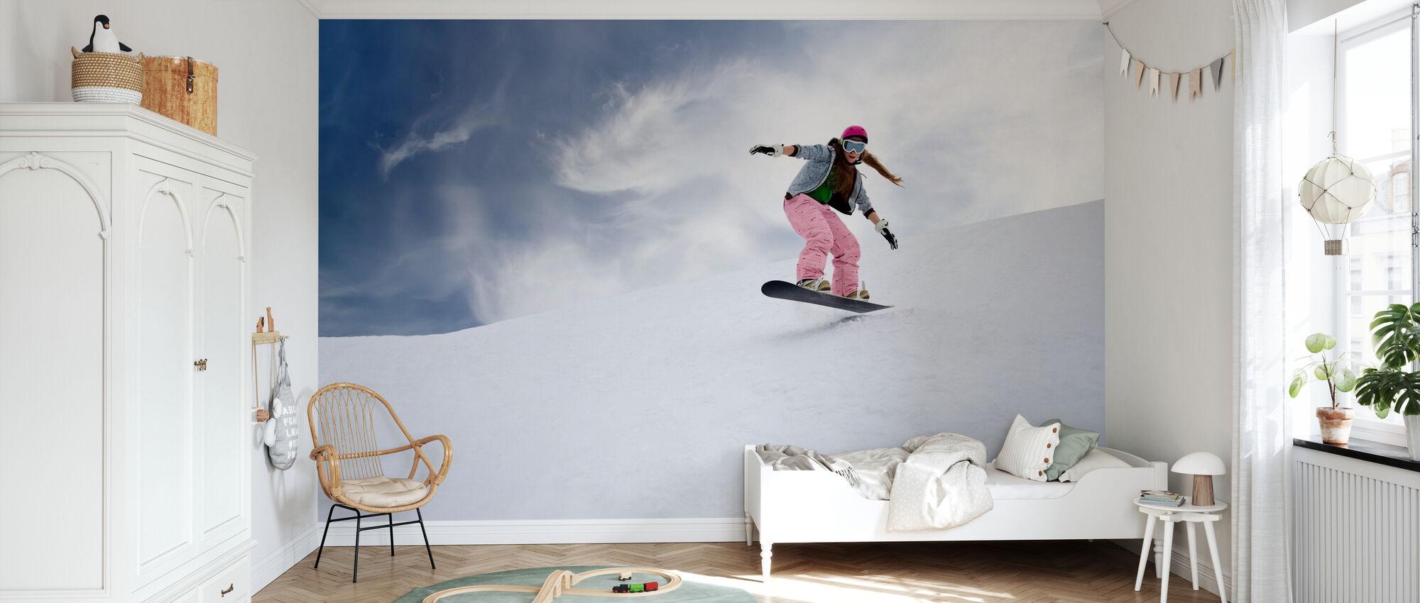 Snowboard Reiter - Tapete - Kinderzimmer