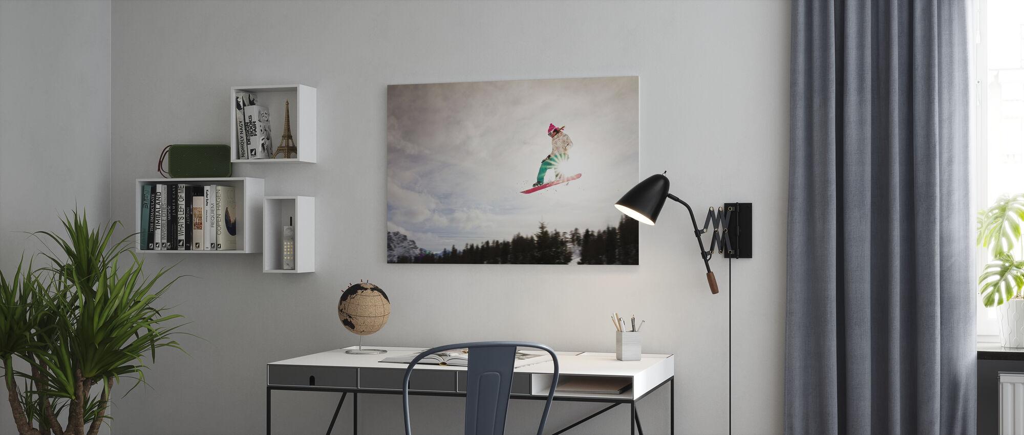 Snowboard solskinn hoppe - Lerretsbilde - Kontor