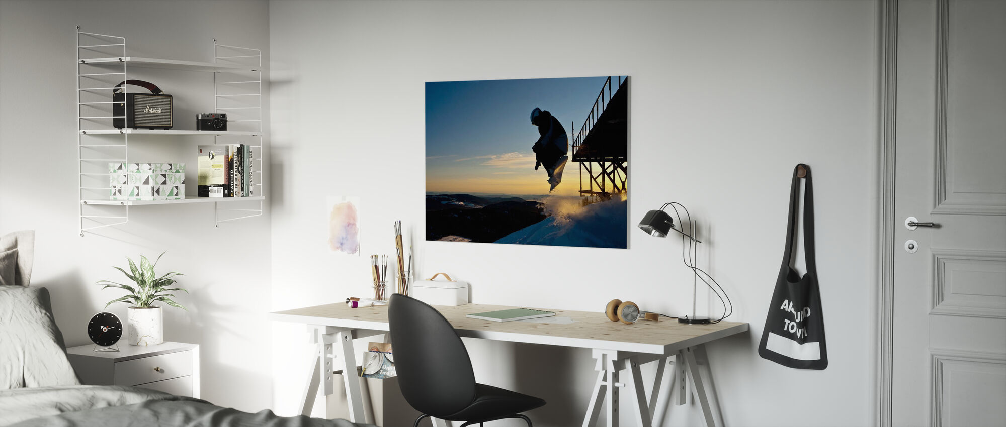 Snowboarder Jump from a Bridge - Canvas print - Kids Room
