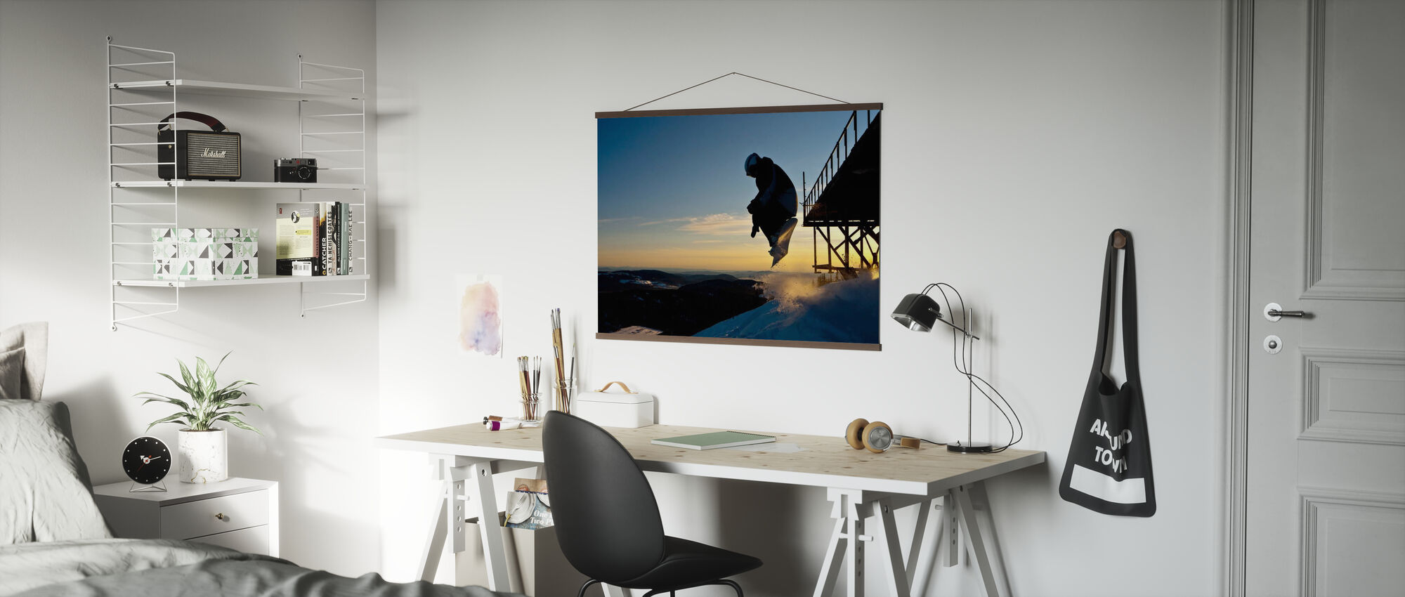 Snowboarder Jump from a Bridge - Poster - Office
