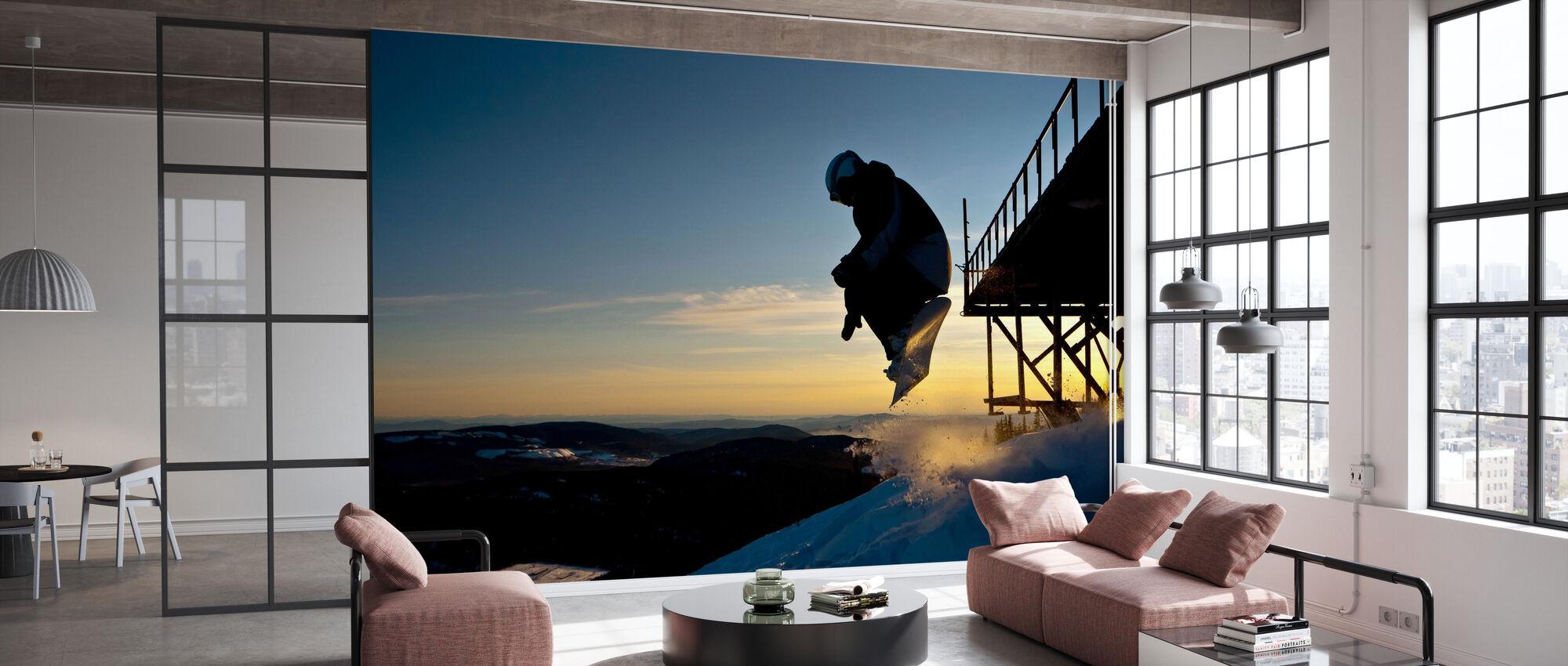Snowboarder Jump from a Bridge - Wallpaper - Office