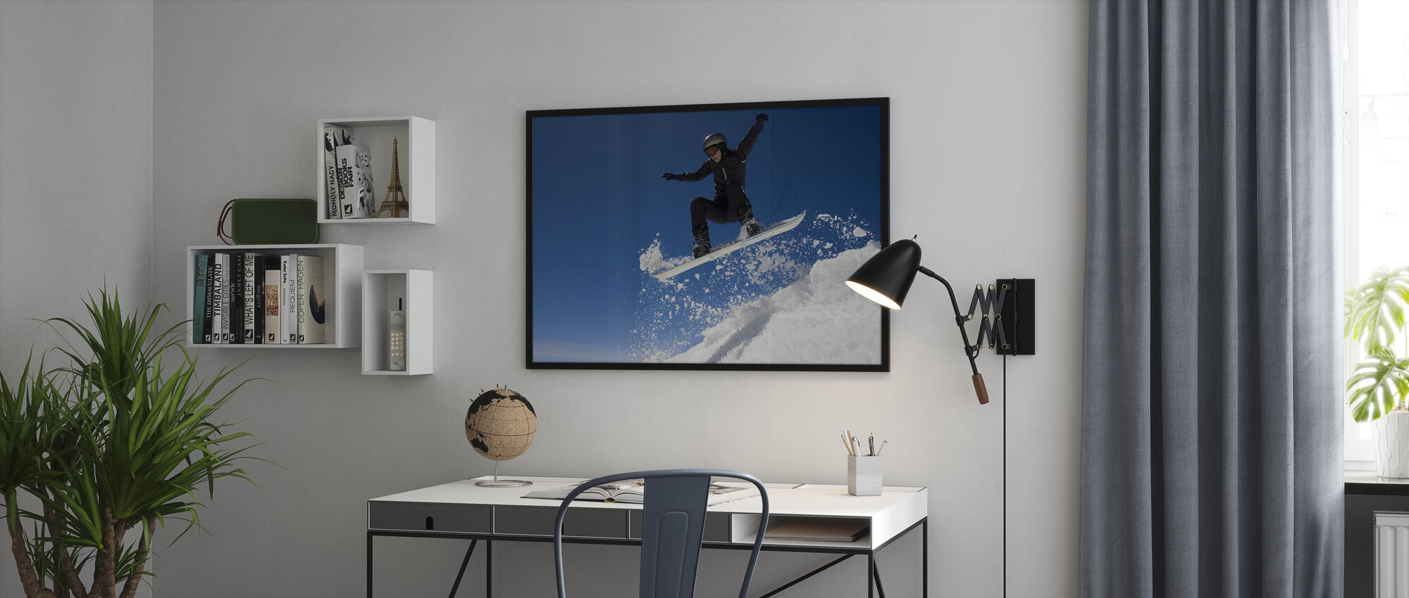 Snowboarder Jumping through Air - Framed print - Office