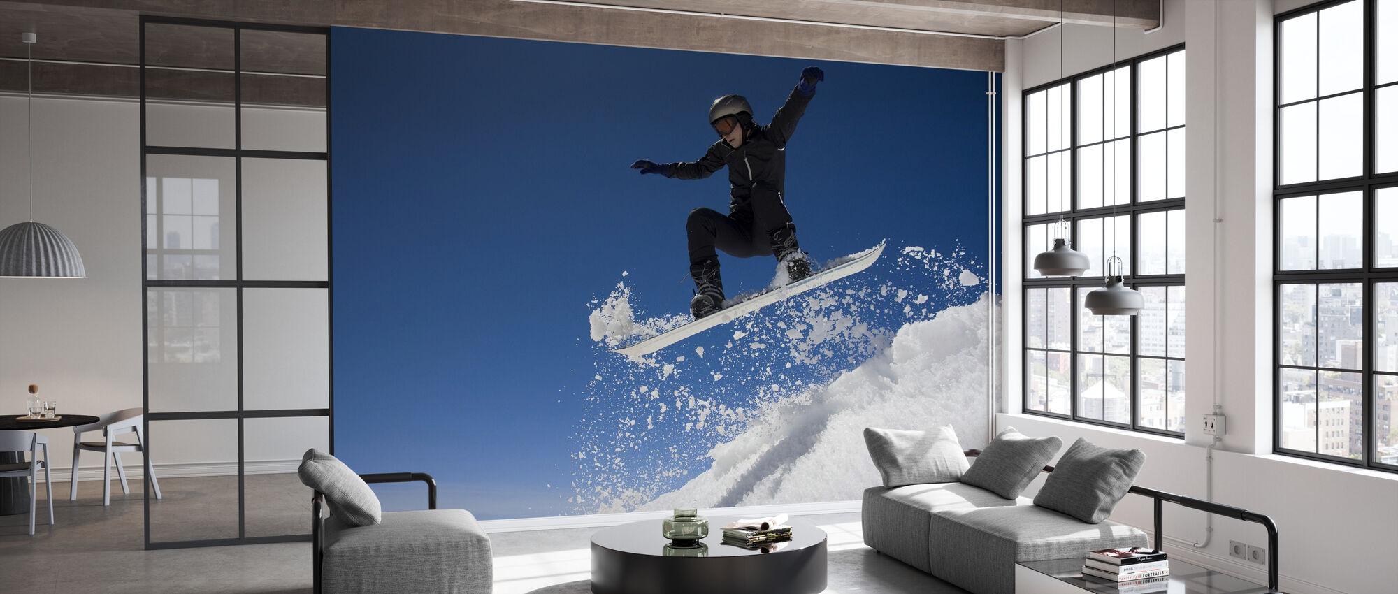 Snowboarder springen door de lucht - Behang - Kantoor