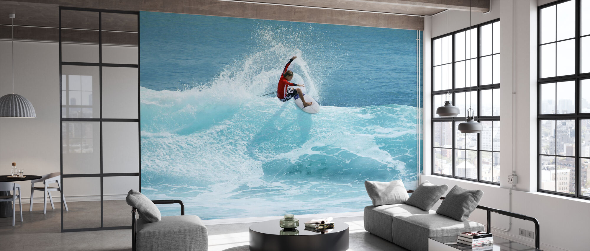Surfer Carving Top van Wave - Behang - Kantoor