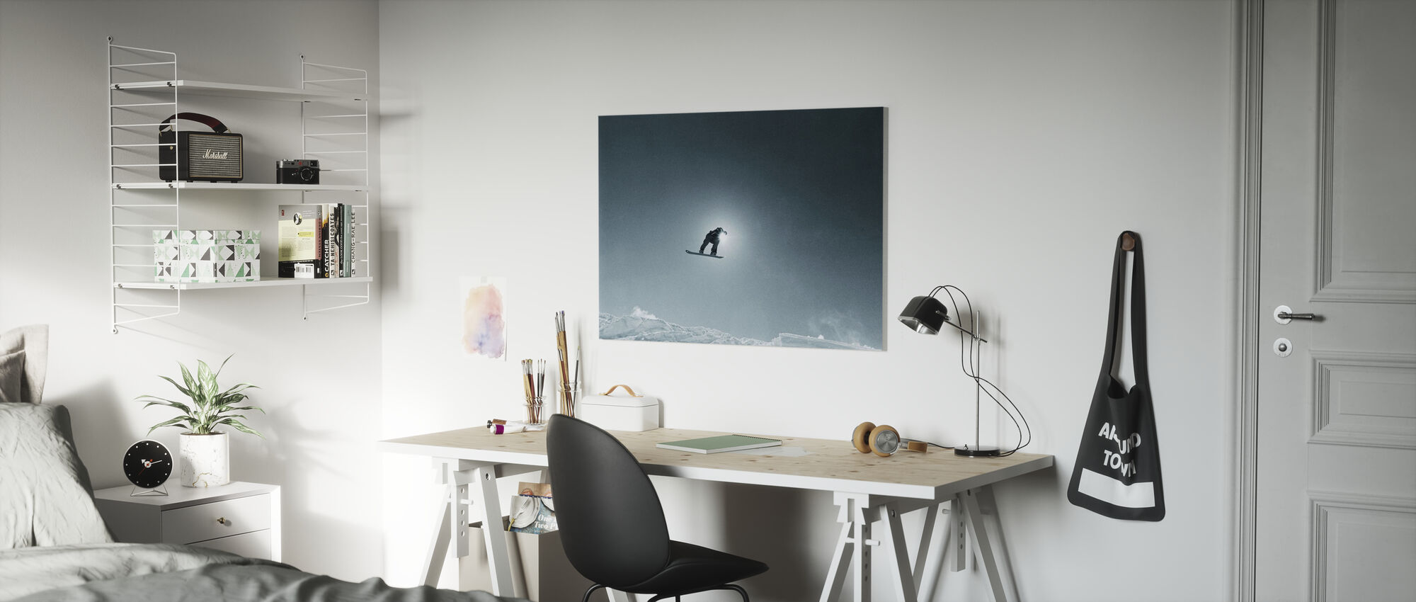 Snowboard Silhouette - Canvas print - Kids Room