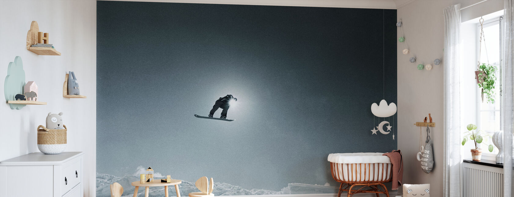 Snowboard Silhouette - Wallpaper - Nursery