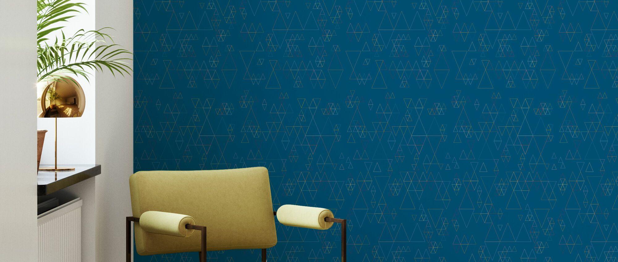 Retroline Blue - Wallpaper - Living Room