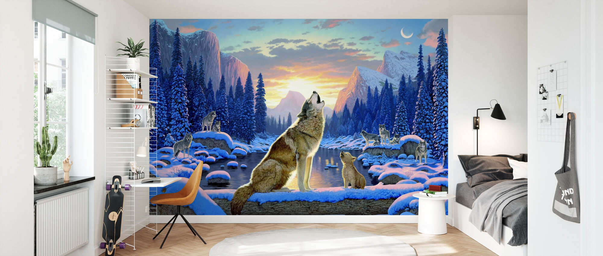 Sitter ulv og unge - Tapet - Barnerom