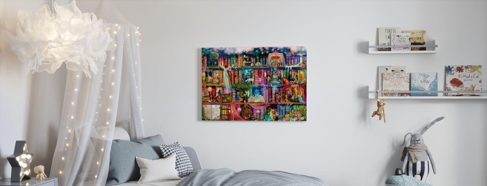 Schattenjacht boek plank - Canvas print - Kinderkamer