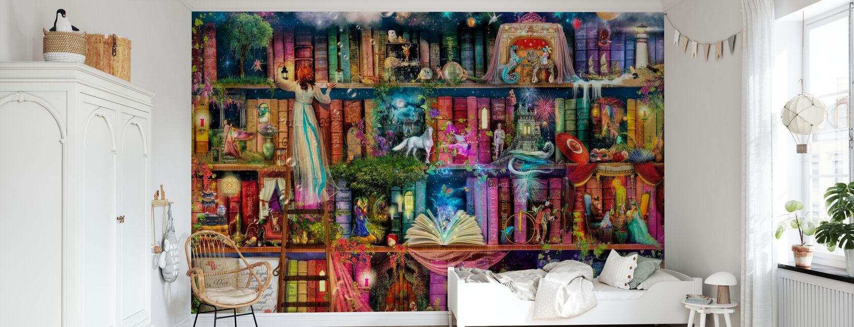 Treasure Hunt Book Shelf - Wallpaper - Kids Room