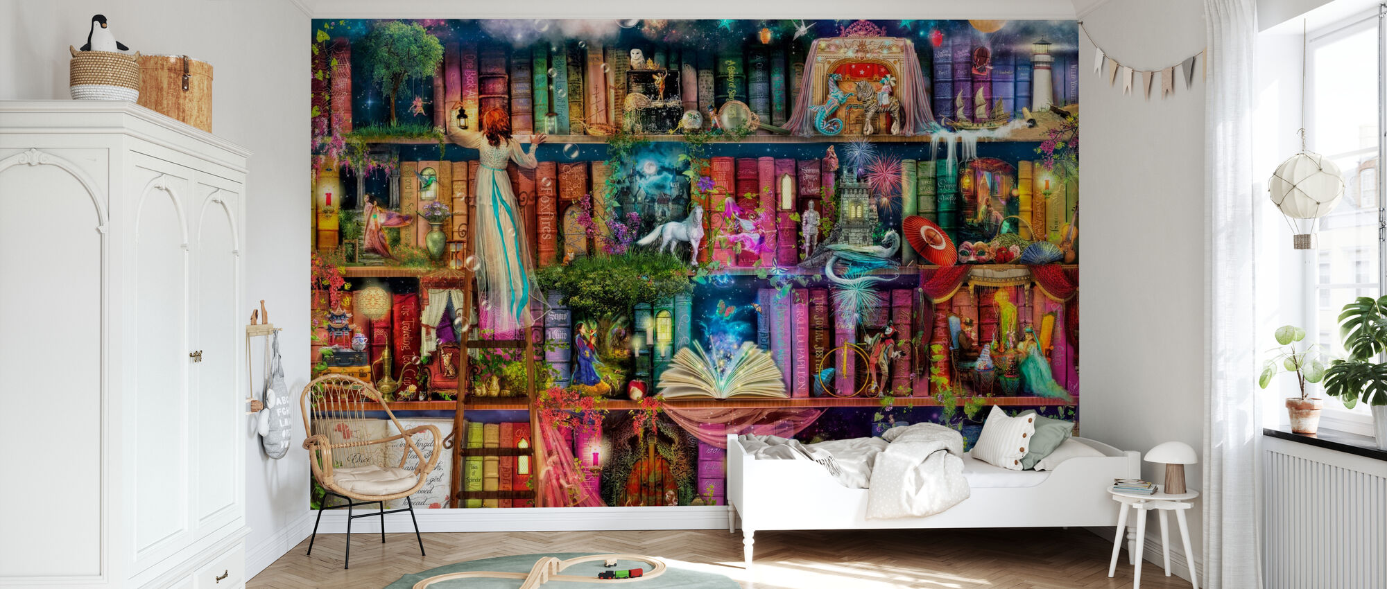 Treasure Hunt Book Shelf - Wallpaper - Kids Room