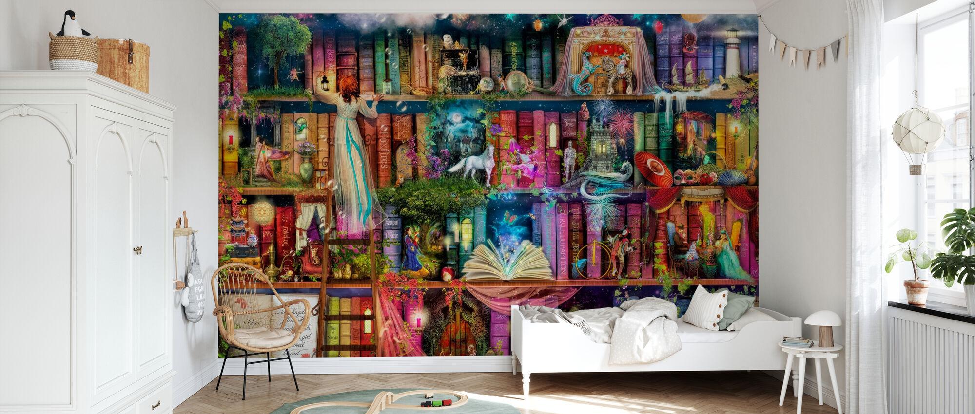 Schattenjacht boek plank - Behang - Kinderkamer