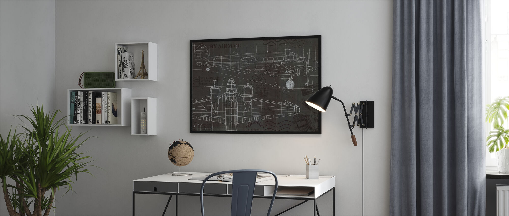 Plane Blueprint - Framed print - Office