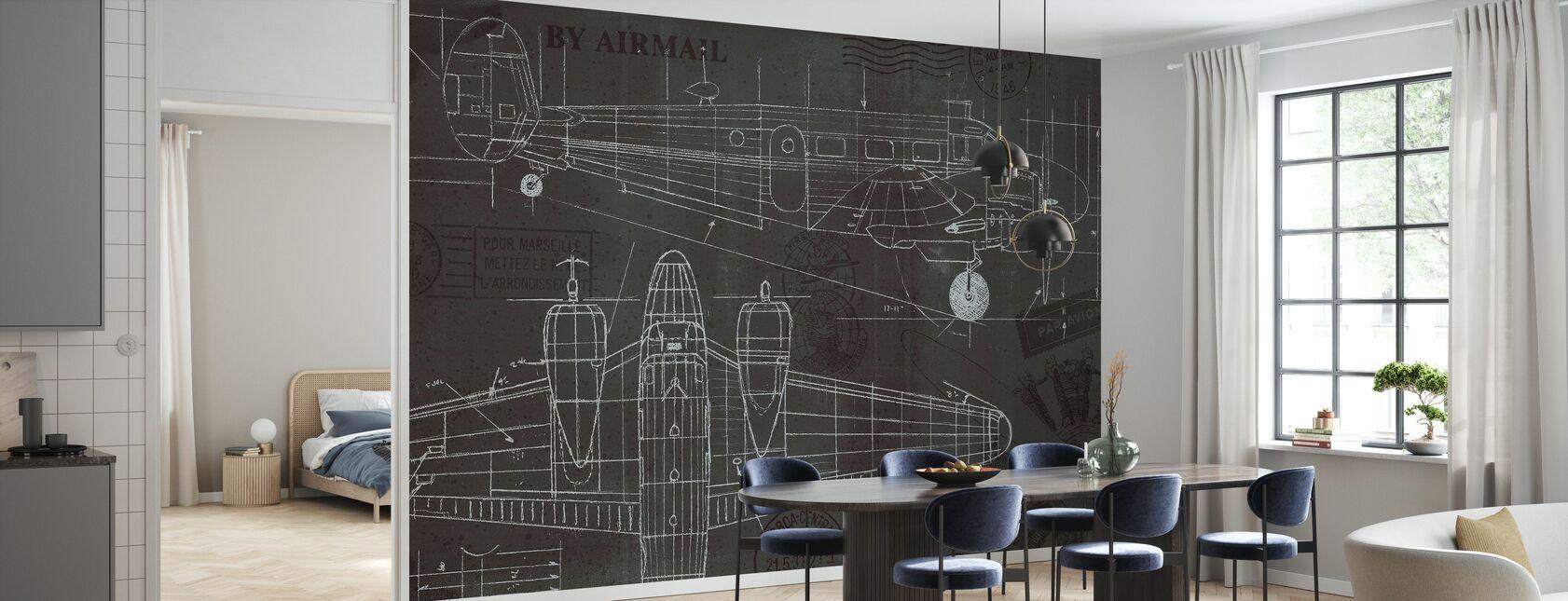 Plane Blueprint - Wallpaper - Kitchen