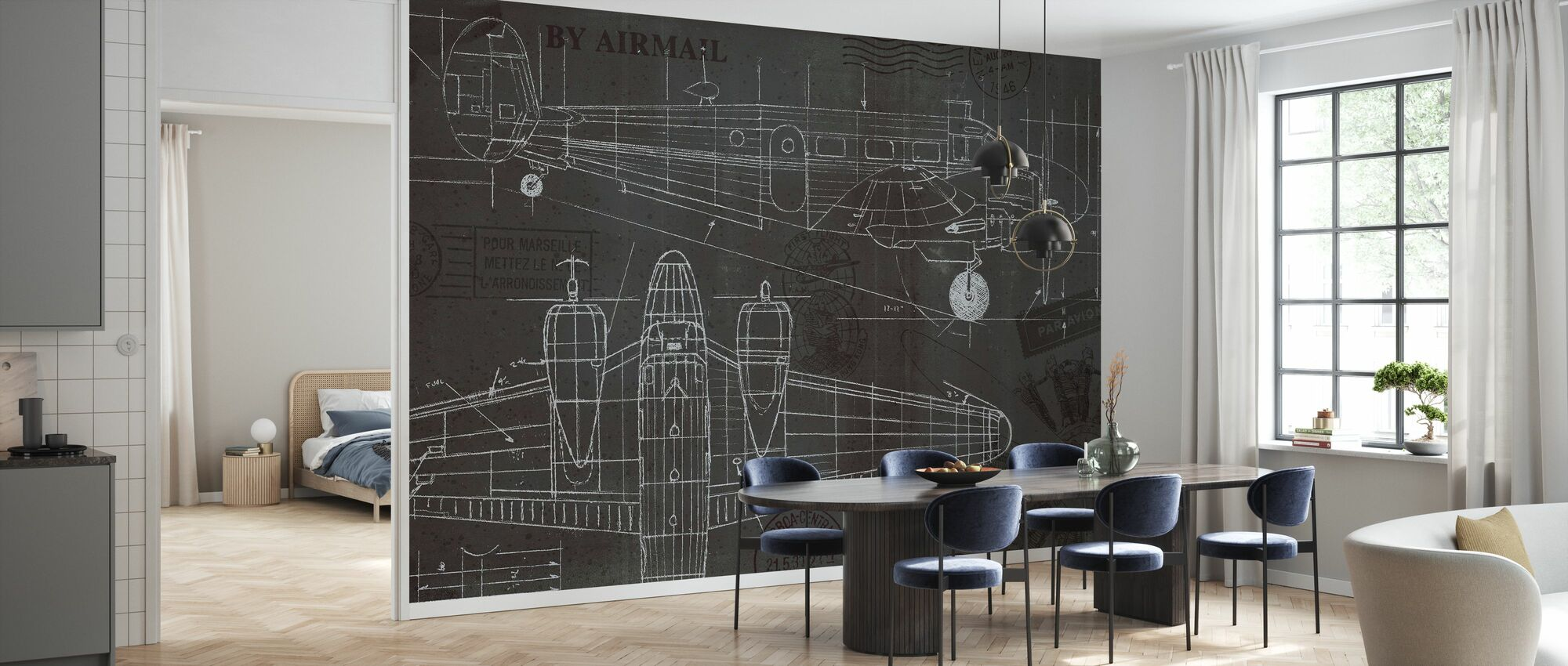 Plane Blueprint - Wallpaper - Kitchen