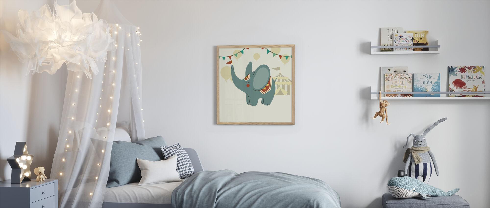Kleine Circus Olifant - Ingelijste print - Kinderkamer