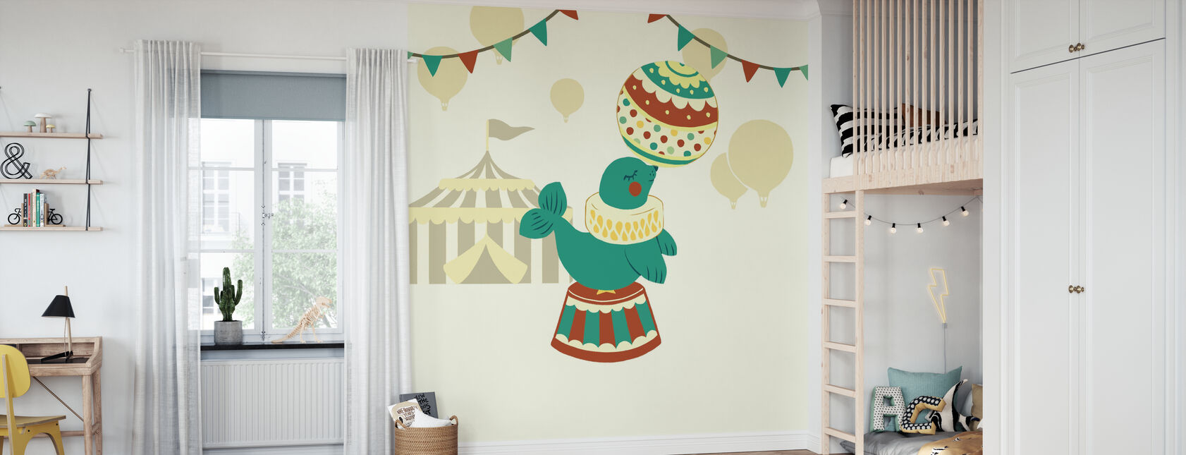 Little Circus Seal - Wallpaper - Kids Room