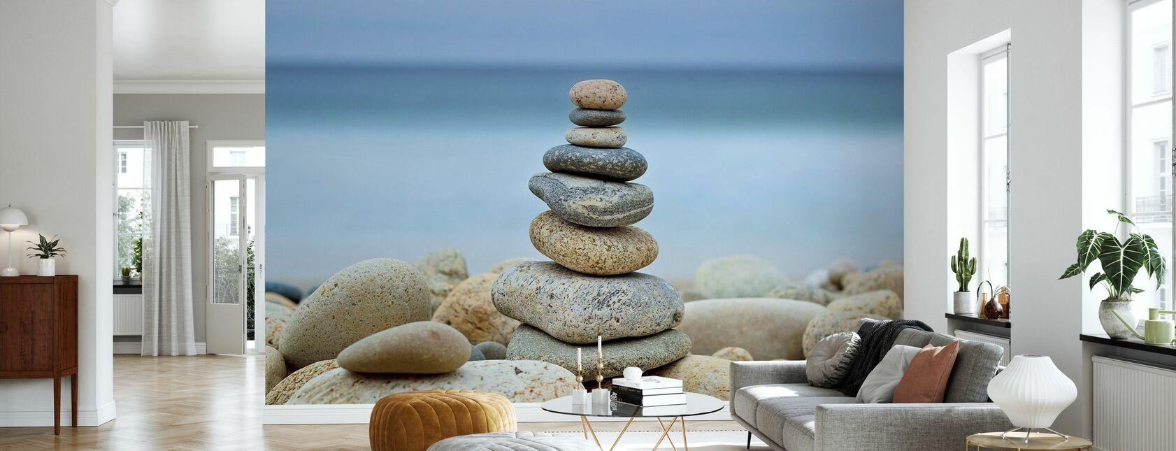 Stone Wall Beach Cairn - Tapete - Wohnzimmer
